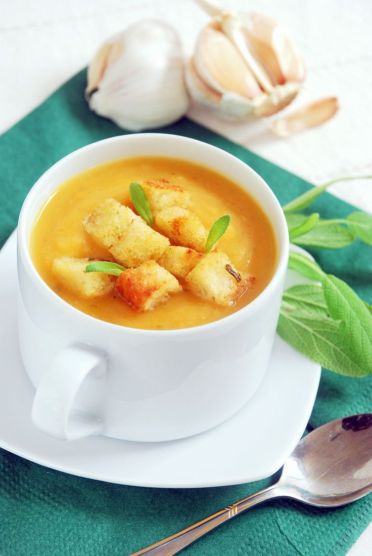 Soup for cold - warming and strengthening soup with garlic, ginger, chili and fresh sage.