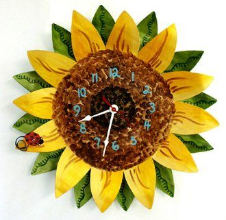 cool sunflower clock could go in the sunflower kitchen