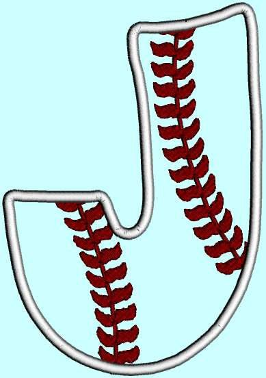 Baseball Letter J Applique INSTANT DOWNLOAD by DesignByTheStitches, $1.99