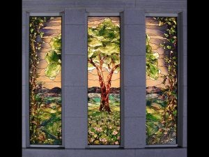 Tree of Life in stained glass window of the LDS Winter Quarters Nebraska Temple