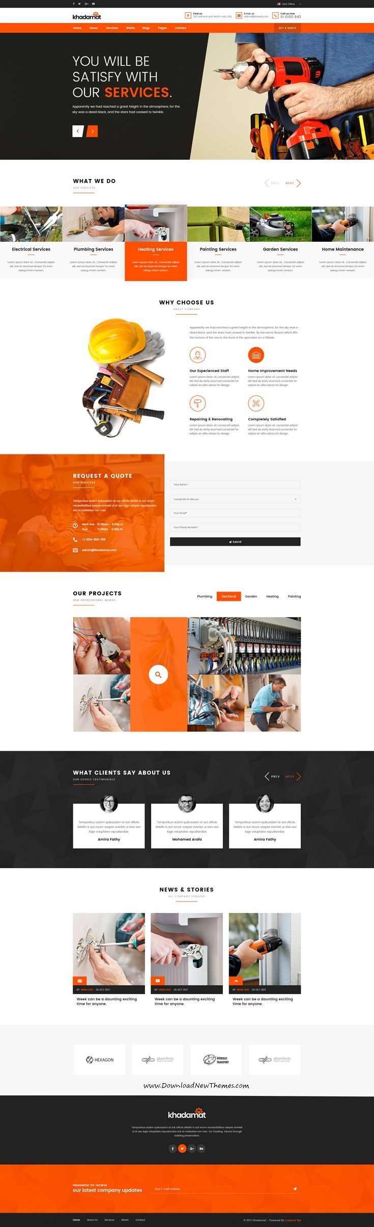 Khadamat is clean and modern design multipurpose PSD template for #repair and #handyman services website with 6 niche homepage layouts and 27 layered PSD pages to live preview & download click on Visit #webdesign