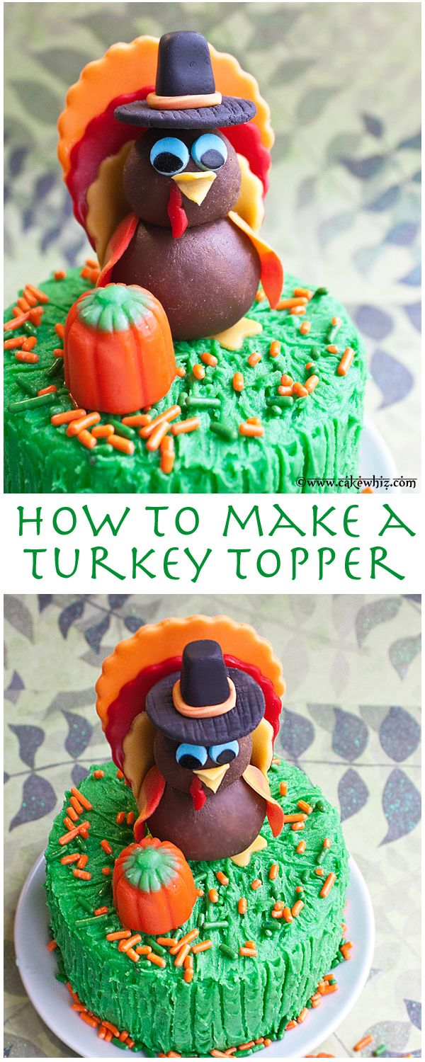 Cute TURKEY TOPPER with a video tutorial. Perfect for your Thanksgiving cakes and cupcakes. From cakewhiz.com