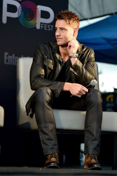 """Justin Hartley Photos Photos - Actor Justin Hartley speaks onstage during the """"This Is Us"""" panel at Entertainment Weekly's PopFest at The Reef on October 30, 2016 in Los Angeles, California. - Entertainment Weekly's PopFest"""