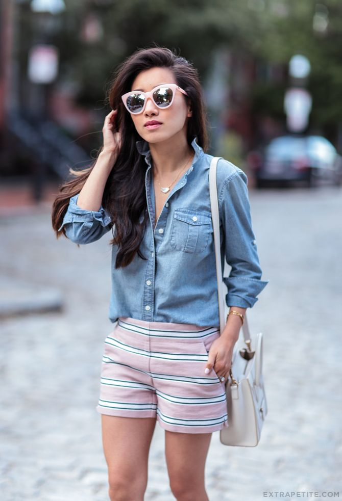 laid-back outfit with cuffed chambray shirt, pink striped shorts (comes in petites) + cat eye sunglasses