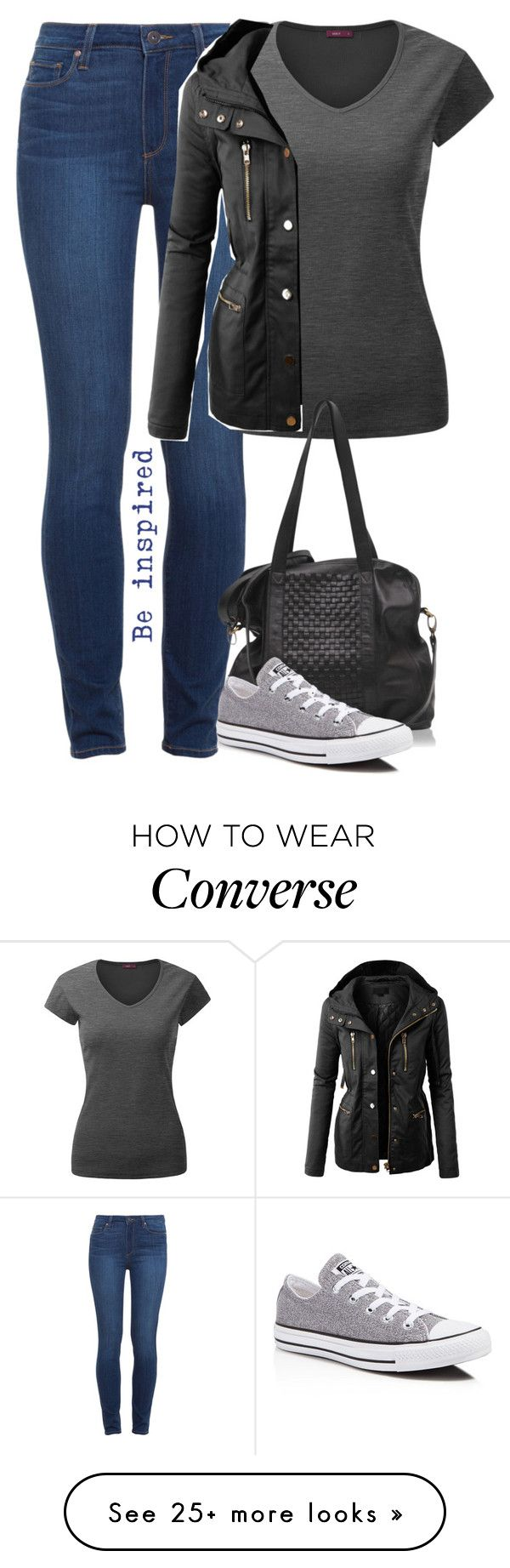 """Just a Casual Outfit"" by cloudybooks on Polyvore featuring mode, Paige Denim, Doublju, LE3NO en Converse"