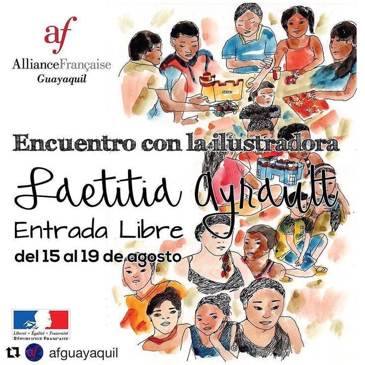 #Repost @afguayaquil (@get_repost)  La #AlianzaFrancesa te trae a la ilustradora francesa Laetita Ayrault. No te pierdas este importante Encuentro. Martes 15 de agosto: Conferencia de Ilustración en #afcentro a las 19:00. Jueves 17 de agosto: Conversatorio en #afcentro (Mediateca) a las 18:30. Viernes 18 de agosto: Taller de Cómic en #afcentro a las 17:30 Sábado 19 de agosto: Taller de Cómic en #afurdesa a las 10:00 y en #afsambo a las 15:00.  No te lo pierdas la entrada es libre! #diseño…