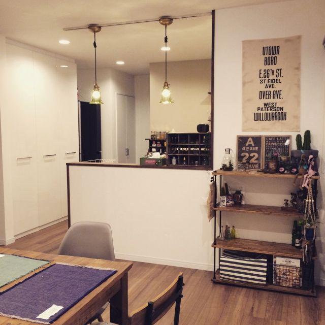 DIY/ディスプレイ棚/アクセントクロス/対面Kitchen/ダイニング…などのインテリア実例 - 2015-03-28 03:32:57 | RoomClip(ルームクリップ)