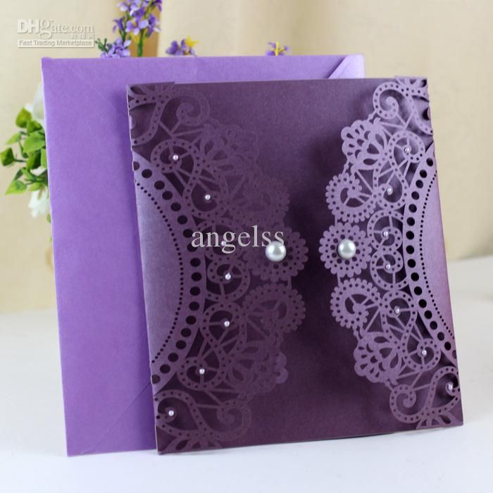 sister wedding invitation card wordings%0A Wholesale Wedding Cards  Buy Purple Lace Cut Wedding Cards Purple Wedding  Invitations with Pearl