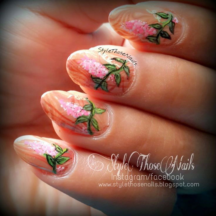 Style Those Nails: Weekend Mani - Woods and Vine !!#weekendnails #watermarblenails #floralnails #springnails #freehandnails