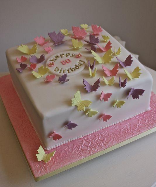 Butterflies 80th Birthday Cake by ConsumedbyCake, via Flickr