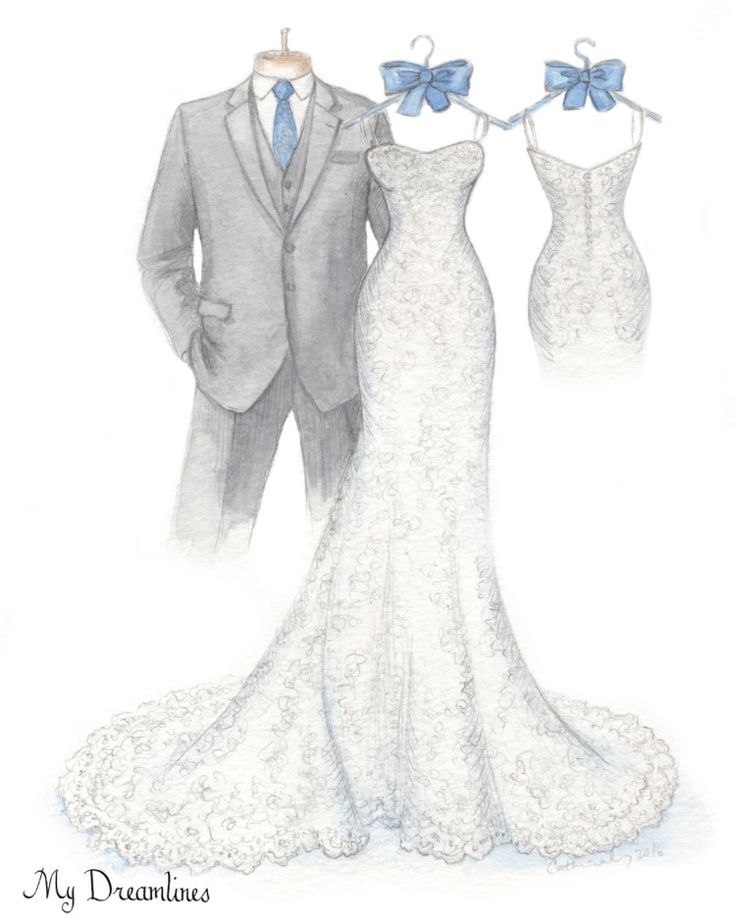 Her Dress Sketched And Framed Dreamlines Wedding Sketch Given As A Day Gift