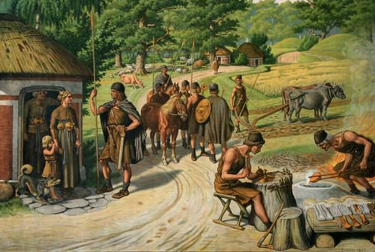 Illustration of people during the Bronze Age.