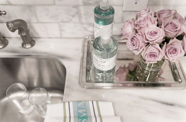 Silver tray: Rose, Hands Soaps, Guest Bathroom, Storage Inspiration, Silver Trays, Interiors, Janet Rice, Soaps Hoppers, Kitchens Sinks