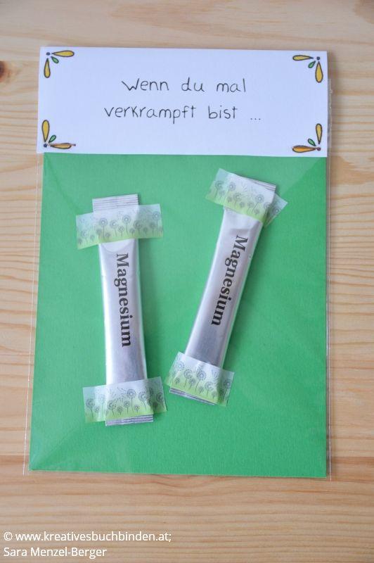 Wenn du mal verkrampft bist ... Geschenk: Magnesium Die Wenn-Box ist ein tolles Geburtstagsgeschenk, du kannst sie aber auch basteln für eine Hochzeit, als Mitbringsel oder für Weihnachten. #kreativesschaffen #wennbox