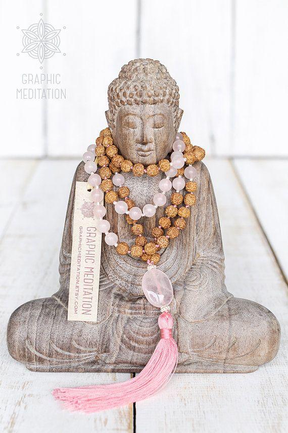 Rose quartz necklace Rudraksha mala beads 108 by GraphicMeditation
