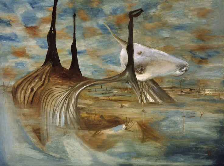 Sir Sidney Nolan - Carcase in Swamp (1955)