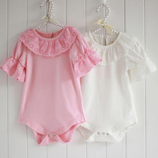 子供の赤ちゃんフリルレース襟ボディスーツロンパースピンク半袖シャツジャンプスーツ
