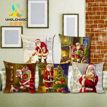 Decoração de natal Presente Travesseiro Cães Bonitos e Gatos Travesseiros Capa de Almofada de Linho de Algodão Árvore de Natal Papai Noel Jogar Travesseiro(China)