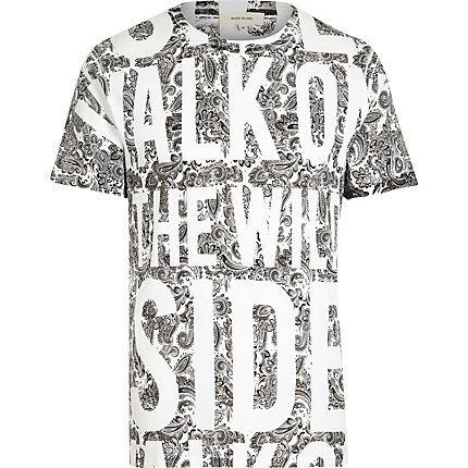 White walk on the wild side slogan t-shirt $40.00