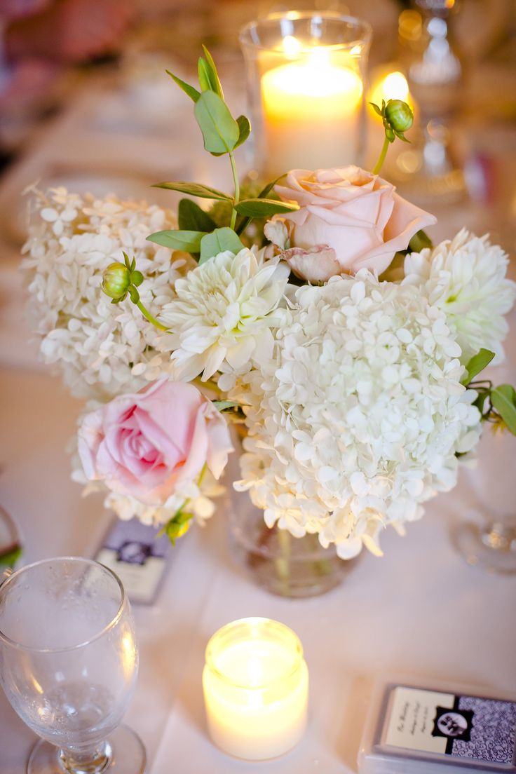 Romantic Wedding - Roses and Hydrangeas, Blush and Ivory centerpieces, Soft Candlelight