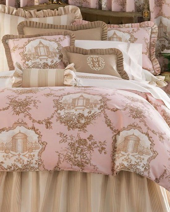 Pink, white and beige makes for a very romantic bedroom