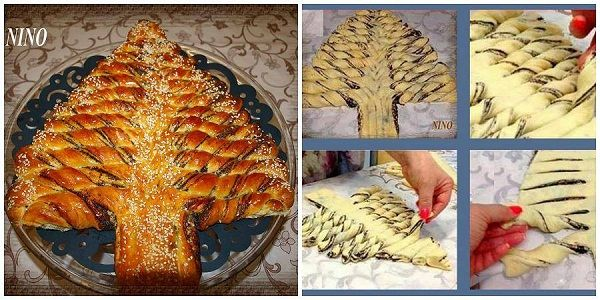 Braided Nutella Christmas Tree Bread Recipe