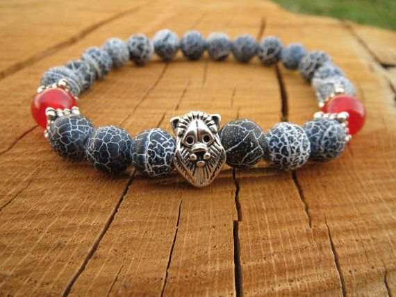 Mens Lion Bracelet, Men Bracelet, Stretch Gemstones Bracelet, Black Agate Bracelet, Cool Men Jewellery, Gift For Him, Wrist Mala