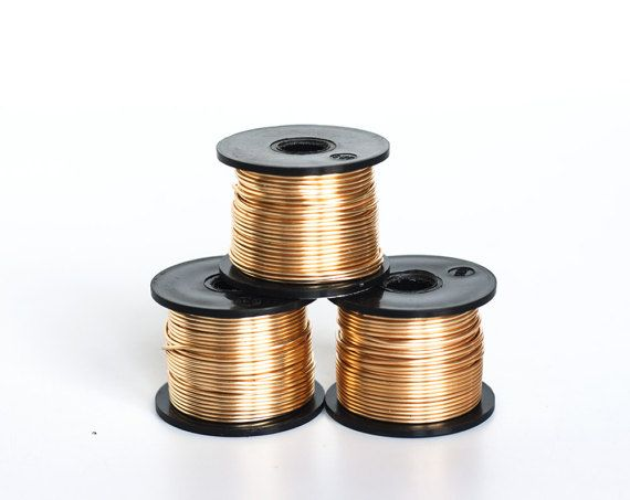 2438_Gilt thick wire 18 gauge, Gold jewelry wire 1 mm, Copper wire, Gilt wire, Wire reel, Golden wire, Gold craft wire, Colored wire_20 m.