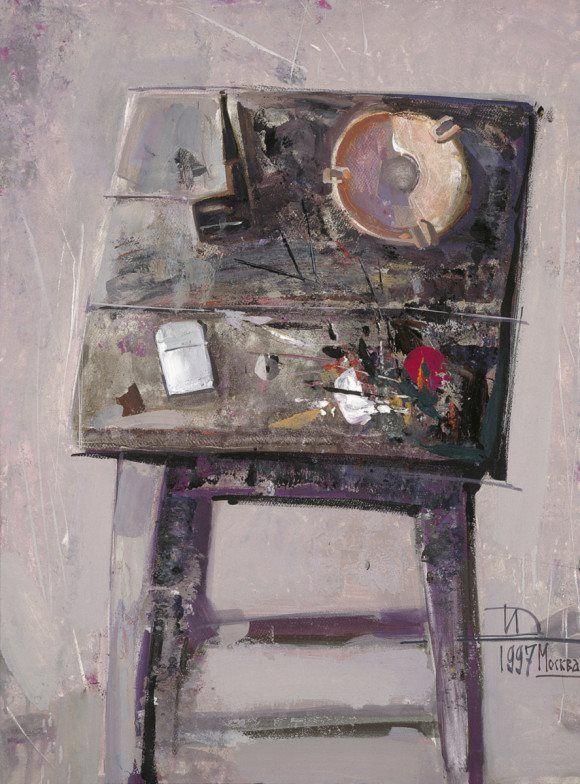 Дмитрий Иконников.  Натюрморт с медной пепельницей. Бумага, гуашь. 80 × 60 см. 1997