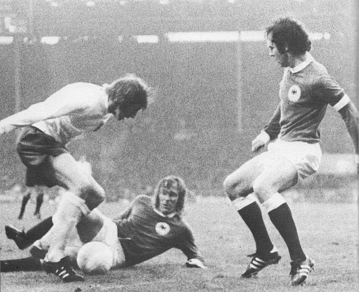 29th April 1972. England playmaker Colin Bell is crowded out by West Germany duo Gunther Netzer and Franz Beckenbauer in the Nations Cup Quarter Final 1st Leg, at Wembley.