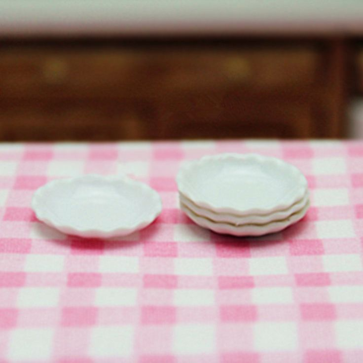 3,32 - 4 pc 1:12 Dollhouse Miniature Kitchenware Japanese Kawaii Miniature Kitchen Accessories Plates/Dishs White Mini Plastic Dinner Plates