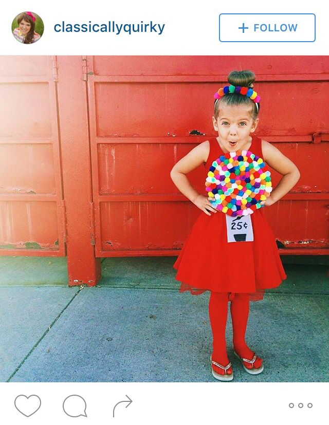 Gumball machine Halloween costume: red leotard, tights, and tutu; multicolored pompoms glued to a paper plate