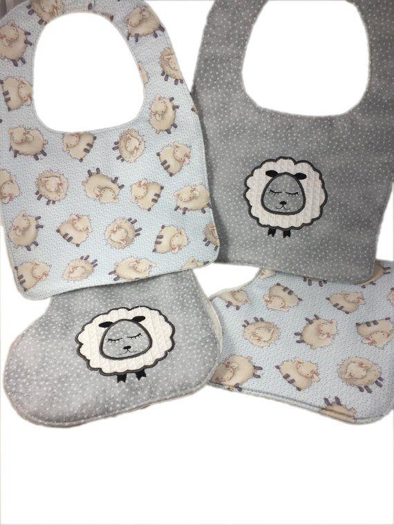 d780b822d6a6 Handmade Machine Embroidered Burp Cloths and Bibs, Sheep, Burp Rags, Unisex  Baby Gift, Baby Shower Gift, Baby Gift Set, Feeding, Nursing