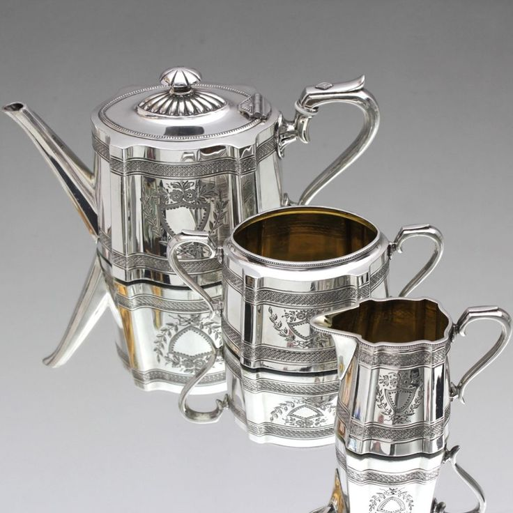 James Dixon, Sheffield: Teekern, Teeservice viktorianisch Teekanne Silber plated