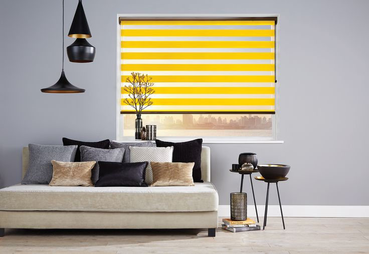 Vision® Blinds by Louvolite® Capri Colour - Ochre - open with transparency.