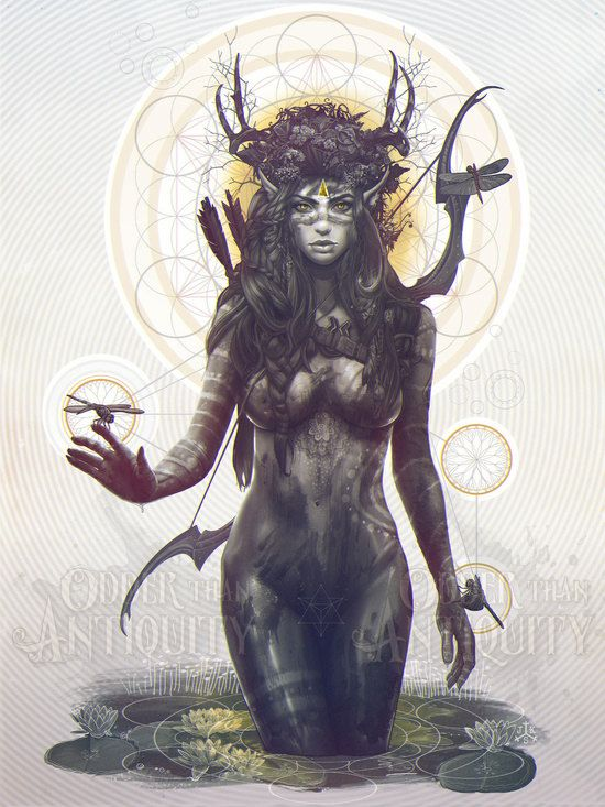 Elf Archer Forest Spirit Goddess Antler Female Nature Deity Sacred Geometry Original Illustration Portrait Poster Print - 4 Sizes Available