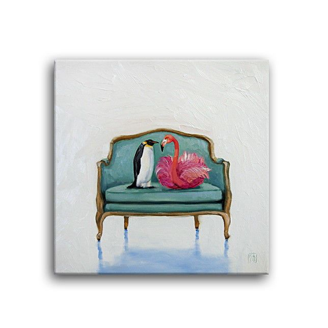 Daily Oil Painting Snow Penguin Pink Flamingo Bergere Louis