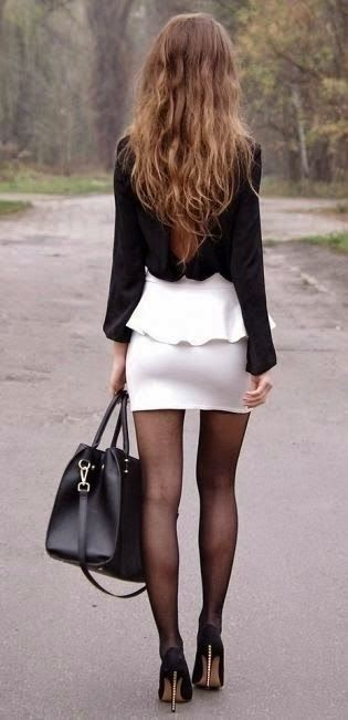 Love this peplum skirt and the open back blouse! Cute date outfit! Women's fashion clothing outfit for spring