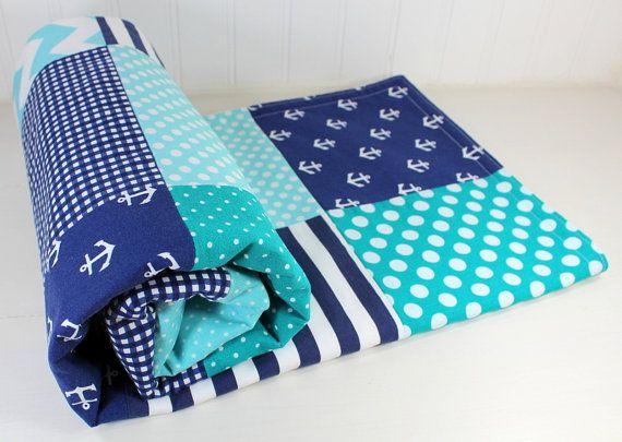 Baby Boy Blanket, Minky Blanket, Anchor Blanket, Nautical Nursery Decor, Teal Blue, Aqua Blue, Navy Blue, Anchors, Stripes, Nautical Blanket