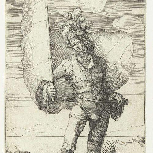 De vaandeldrager, Lucas van Leyden, 1508 - 1512 - Rijksmuseum