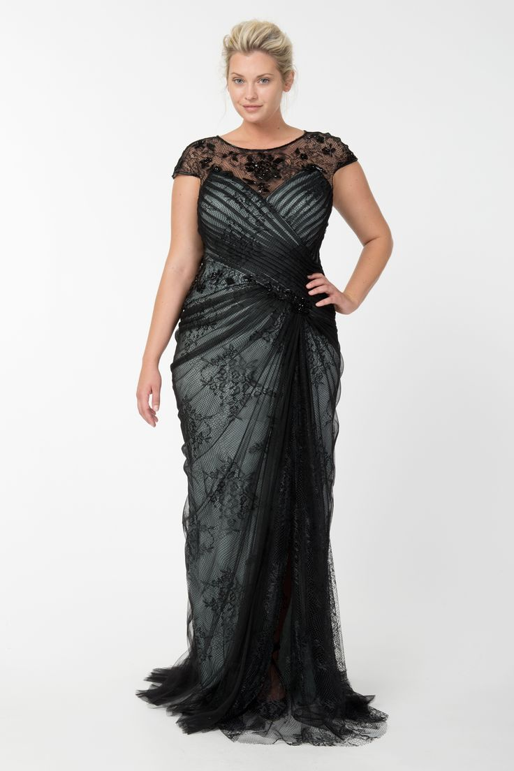 Lace and Draped Tulle Gown in Black / Marble | Tadashi Shoji Fall / Holiday Plus Size Collection