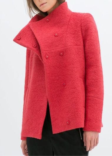 Catching Long Sleeve Turndown Collar Woman Coat Red