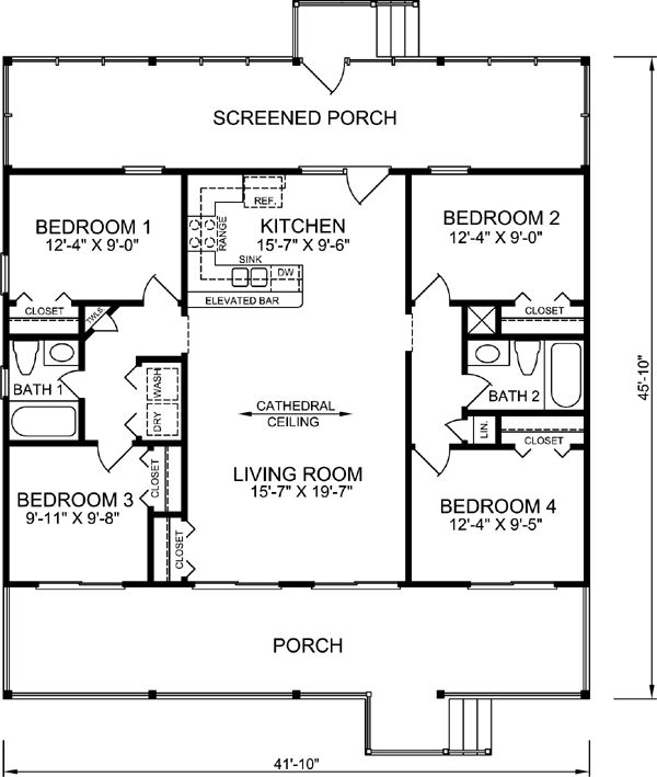 Coastal Style House Plans   1248 Square Foot Home, 1 Story, 4 Bedroom And 2  3 Bath, Garage Stalls By Monster House Plans   Plan