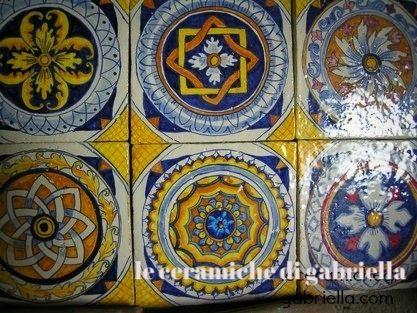 Pannelli ceramica di caltagirone dipinti a mano vaso floreale in