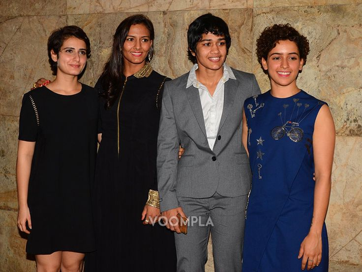 Female wrestlers Geeta Phogat with Babita Kumari with Dangal actresses Fatima and Sanya... via Voompla.com