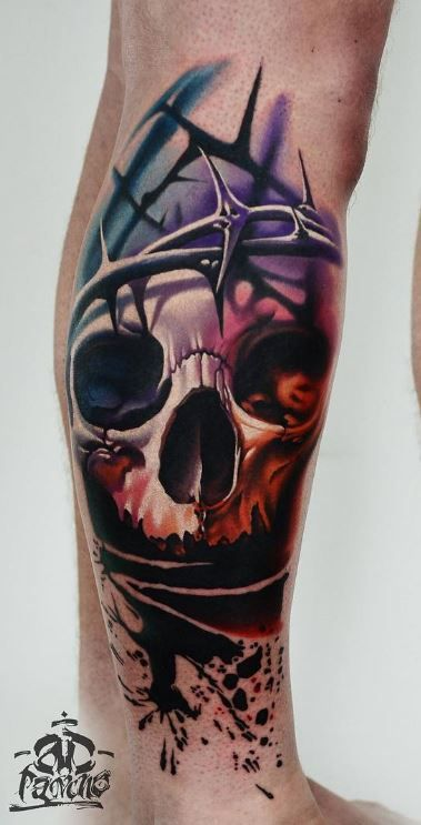 Barbed Wire on Skull Tattoo