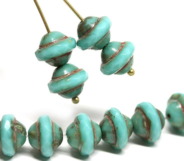 Turquoise green saucer beads UFO shape Turquoise Picasso czech glass fire polished bicone beads 8x10mm saturn beads 6Pc - 0596 by MayaHoney on Etsy