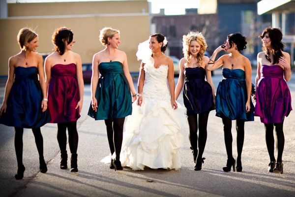 Metallic Bridesmaids Dresses: Perfect for a Fall or Winter Wedding Photo