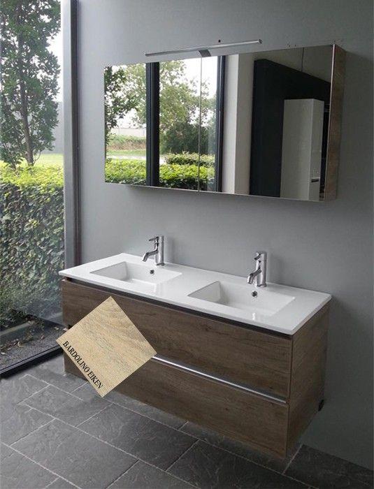 Thebalux Stef badmeubel 120 cm bardolino eiken met keramisch blad dubbele wastafel (greeploos) en spiegelkast