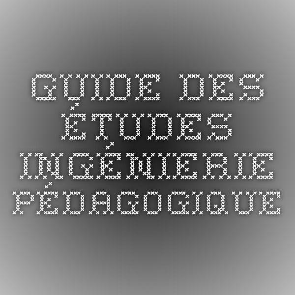 guide des études ingénierie pédagogique